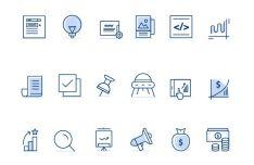 18 Marketing & Business Line Icons PSD