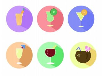 6 Flat Summer Drink Icons PSD