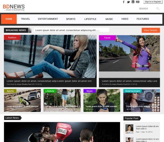 Newspaper Magazine Web Template PSD