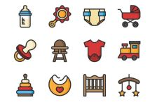 12 Baby Icons Vector (2 Color Styles)