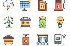 12 Colorful Energy Icons Vector
