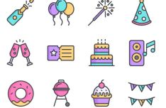 12 Colorful Party Icons Vector