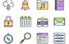 12 Flat Colorful UI Icons Vector