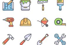 12 Flat Construction Icons Vector