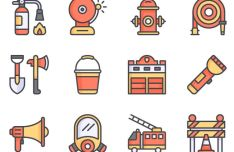 12 Fire Fighting Flat Icons Vector