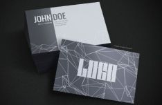Grey Geometric Business Card PSD Template