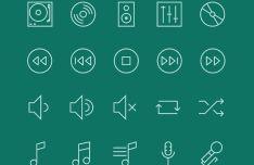 30 Minimal Music Line Icons Vector
