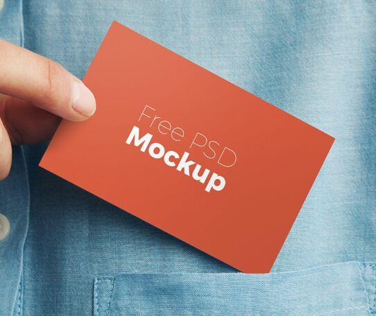 Minimal Business Card Pocket PSD Mockup