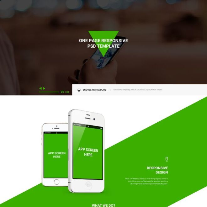 Green ECO App Landing Page PSD Template
