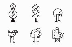 Minimal Tree Line Icons Vector