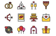 12 Colorful & Lined Wedding Icons Vector