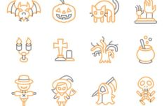 12 Lovely Halloween Icons Vector