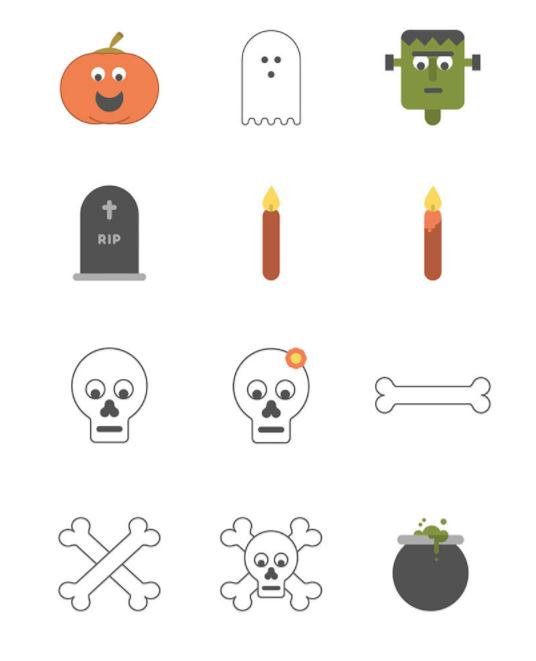 12+ Minimal Halloween Icons (AI+PNG+SVG)