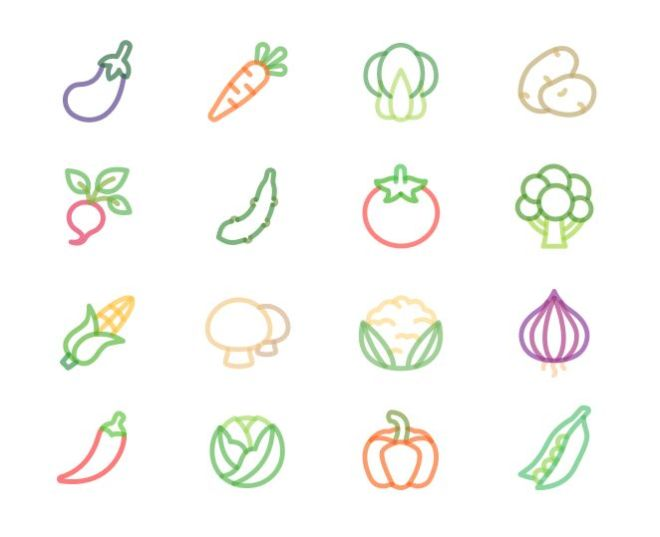 16 Cute Vegetable Icons Vector