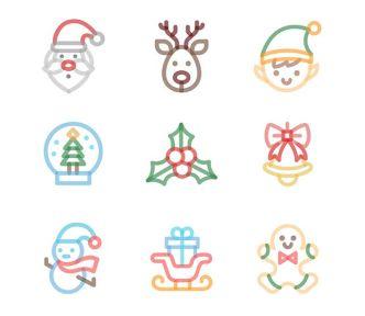 9 Handy Christmas Icons Vector
