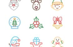 9 Handy Christmas Icons Vector
