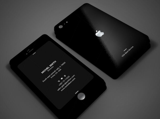 Free Dark iPhone Style Business Card Template - TitanUI