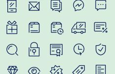 50 Thin Line eCommerce Icons Vector