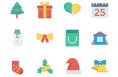 12 Flat Christmas Vector Icons