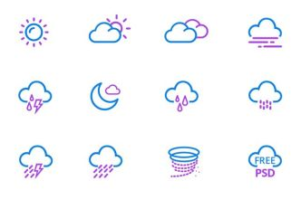 12 Pixel Perfect Weather Icons PSD
