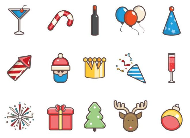 15 Cute Christmas & New Year Icons Vector