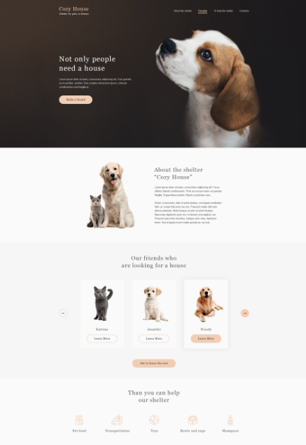 Animal Shelter Website Template PSD