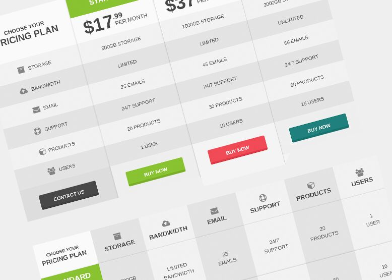 free flat pricing table comparison table psd template titanui