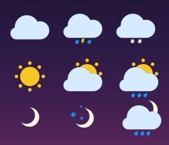 6 Basic Minimal Weather PSD Icons