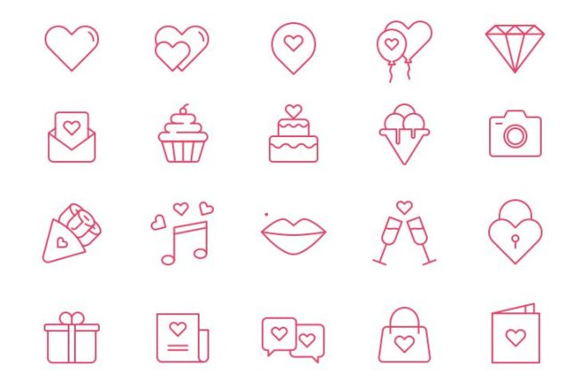 20 Simple Valentine's Day Line Icons (AI+PSD)