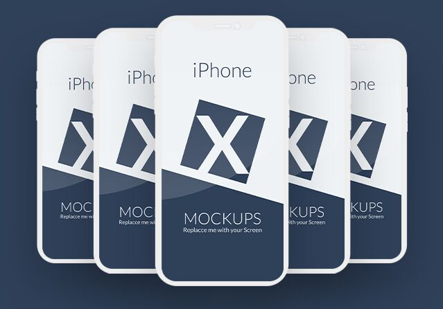 Flat Editable iPhone X Mockup PSD