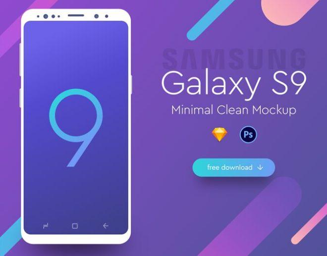 Minimal Sumsung Galaxy S9 Mockup (PSD+Sketch)