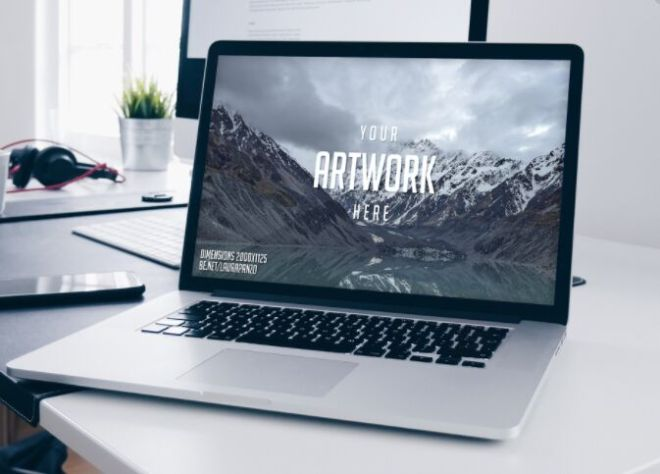 Realistic Macbook Pro & Workspace PSD Mockup