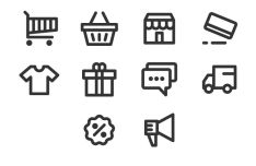 10 E-commerce Line Icons Vector