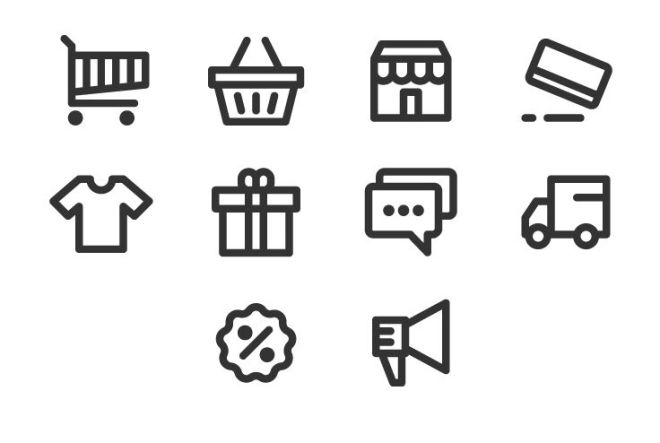 10 E-commerce Line Icons Vector