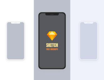 Simple Flat iPhone X Mockup For SketchApp