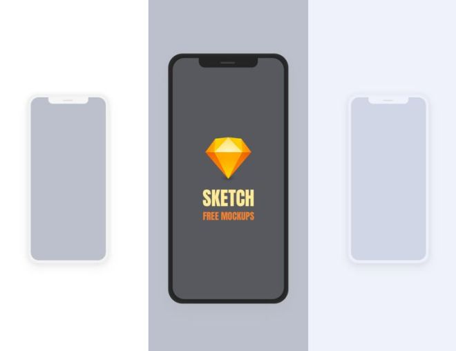 Simple Flat iPhone X Mockup For SketchApp