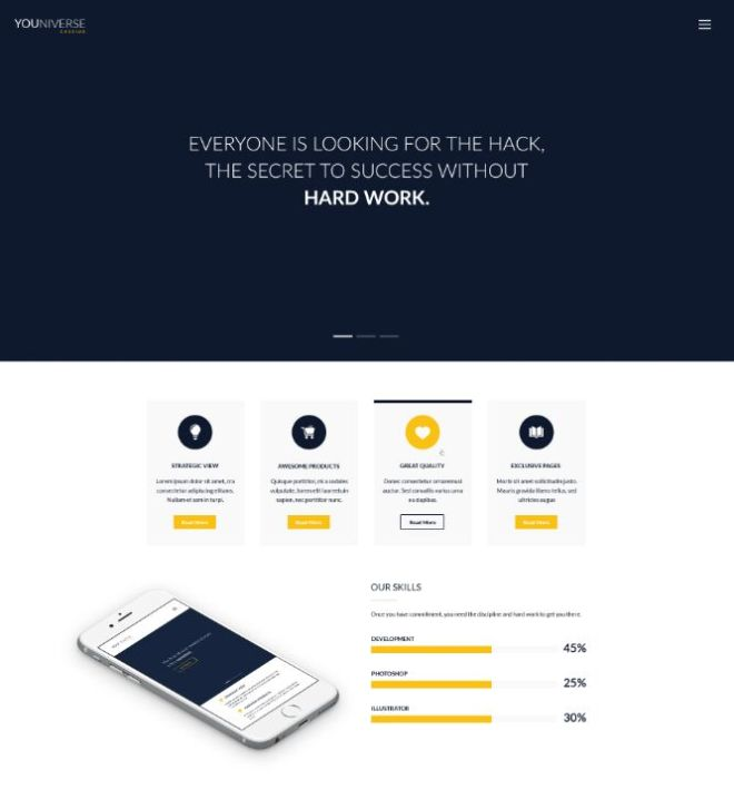 Clean Business Landing Page Template PSD