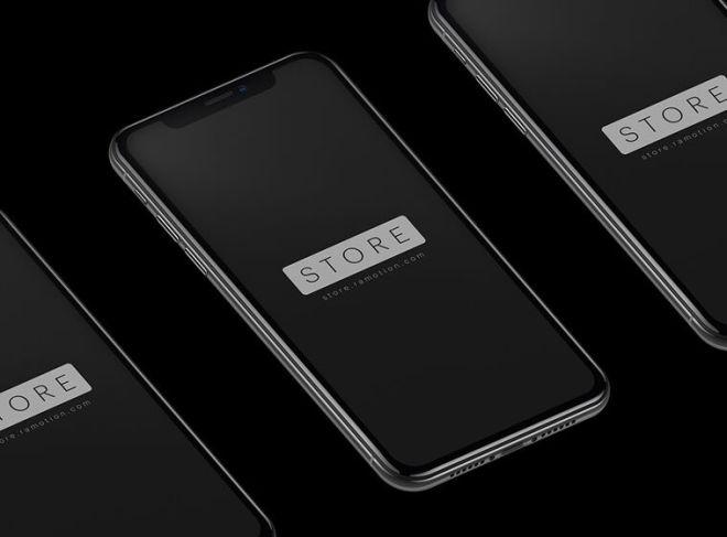 Isolated iPhone X Black PSD Mockup-min