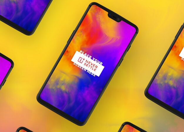 Isolated OnePlus 6 PSD Mockup-min