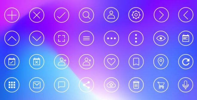 32 Circular UI Icons For XD-min