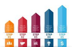 Arrow Step Infographic Template Vector-min