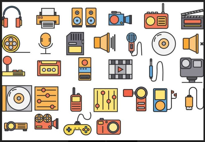 30 Colorful Multimedia Vector Icons-min