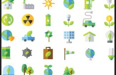 28 Flat Renewable Energy Icons Vector-min