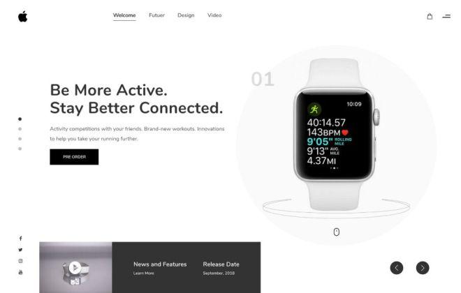 Minimal Clean Apple Watch Web Template For Adobe XD-min