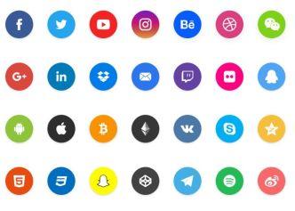 Flat Circle Social Sharing Icons For Adobe XD