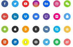 Flat Circle Social Sharing Icons For Adobe XD