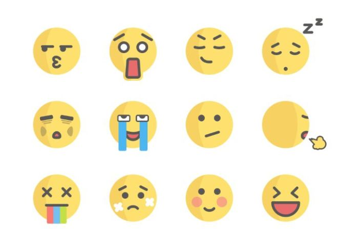 12 Cute Flat Emojis Sketch