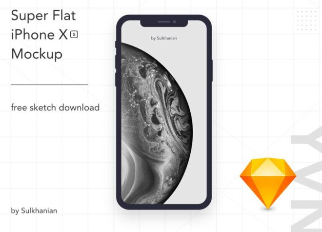 Flat iPhone XS Sketch Mockup