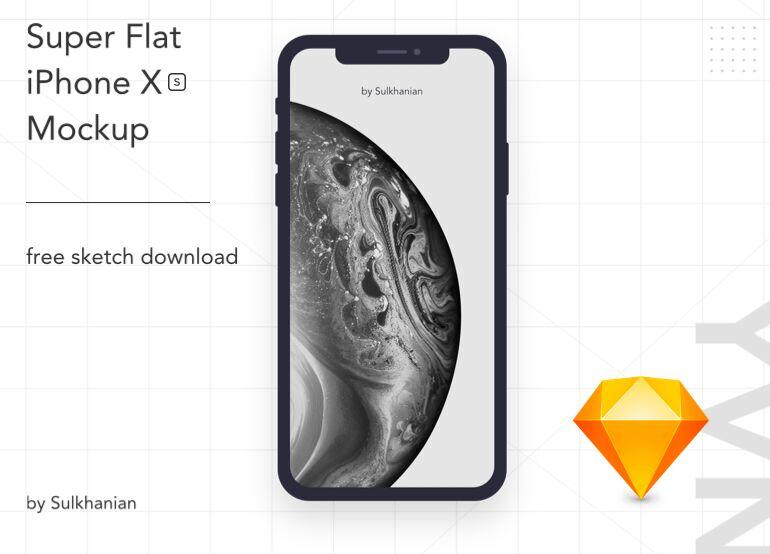 Free Flat iPhone XS Sketch Mockup - TitanUI