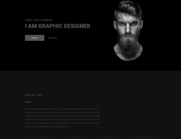 Dark Personal Portfolio Template PSD